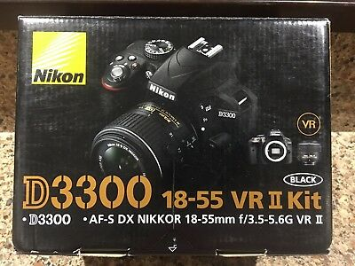 NEW! Nikon D3300 24.2MP Digital SLR Camera &18-55mm f/3.5-5.6G VR II Lens Black