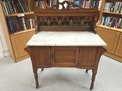 Antique Victorian / Edwardian Washstand White Marble Top Floral Tiled Back