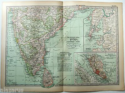 Original 1902 Map of Southern India by The Century Company
