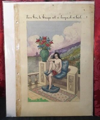 Vintage Antique French Risque Art Nouveau Deco Portrait Watercolor Painting