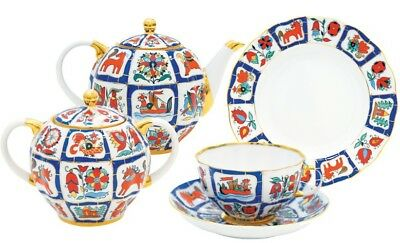 Russian Imperial Porcelain Tea Set Tulip Russian Lubok 20 pcs for 6 persons