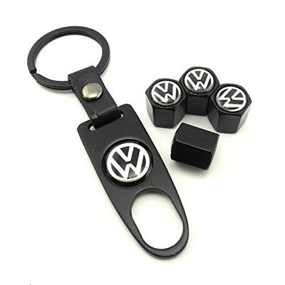 4 Wheel Tire Valve Stem Air Caps Cover Dust Covers Keychain for VW Volkswagen