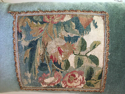 Antique Aubusson Tapestry PAIR Feather Pillows Floral Ornate Trim Lumbar Blue