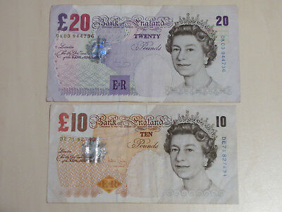 Bank of England 10 + 20 Pfund Banknoten (Pound Sterling)