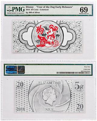 2018 Niue Disney Year Dog Foil Note 5 g Silver PMG Superb Gem Unc 69 ER SKU49217