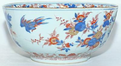 """VERY FINE, LARGE 18th C CHINESE IMARI FAMILLE ROSE PUNCH BOWL  31cm 12"""" 3.5kg"""