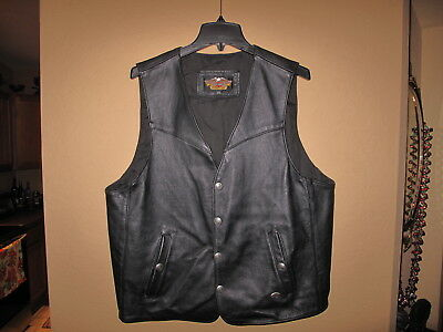 Original Usa Made Harley Davidson Black Leather Vest Large L