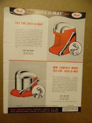 c.1940s Rival Mfg Co. JUICE-O-MAT Chrome Juicer Catalog Sheet Vintage Atomic Age