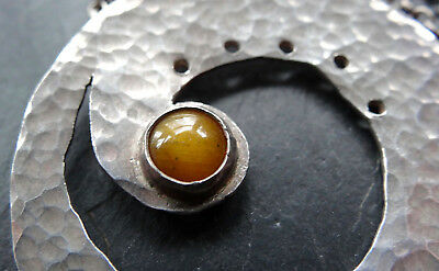 vintage 925 STERLING SILVER modernist TIGERS EYE pendant long chain necklace R33
