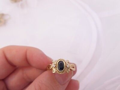 Fine sapphire diamond 3 stone 9ct gold art deco design ring 9k 375
