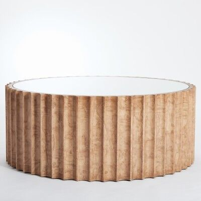 """Large Fluted Light Burl Drum Coffee Table 