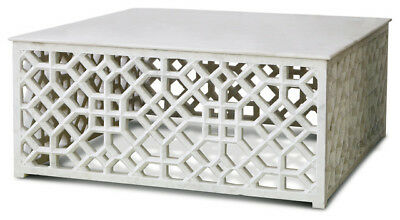 Solid Marble Carved Lattice Fretwork Coffee Table | Square Accent White Stone