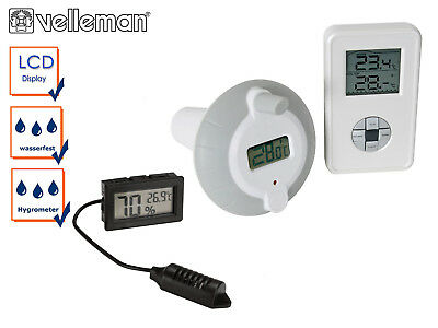 Digitales Funk Wasserthermometer mit Thermohyrometer Pool Thermometer Schwimmbad