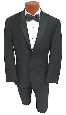 Black 100% Wool Ralph Lauren Tuxedo with Flat Front Pants Grosgrain Satin Lapel