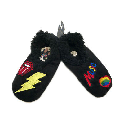 Snoozies Groovy Patches Foot Coverings - Black - Medium