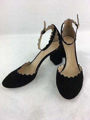 5f32837a851 Chloe Scalloped Ankle Strap d Orsay Black Suede Pumps Size 39.5(9.5) RH13449