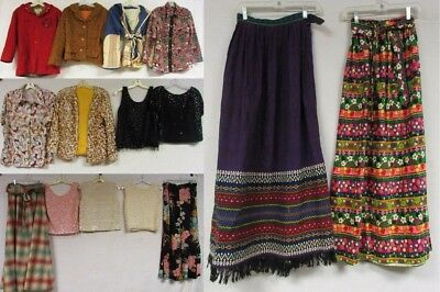 Lot of 14 Vintage 50s 60s 70s 80s Skirts Tops Jackets Sequin Beaded Floral