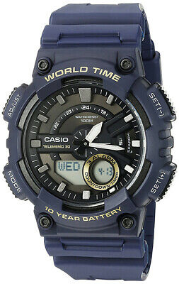 Casio Men's Ana-Digi Quartz 100m World Time Blue Resin Watch AEQ110W-2AV