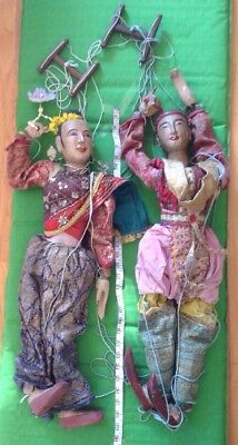 Two Very Rare Antique Vintage Wooden Marionettes StrIng Puppets  29 Inches Long
