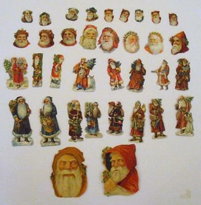 Job Lot 35 Victorian Chromo Die Cut Relief Scraps of Santa Claus for Decoupage