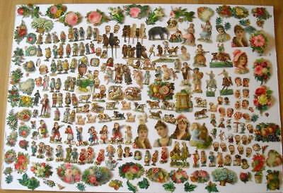 Clearance Job Lot 300+ Victorian Chromo Die Cut Relief Scraps for Decoupage