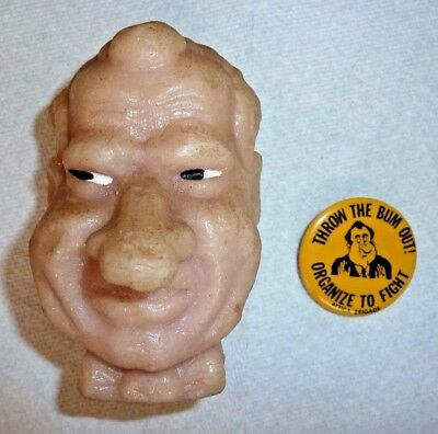 1960's Nixon Attica Brigade protest pinback and Nixon Head candle