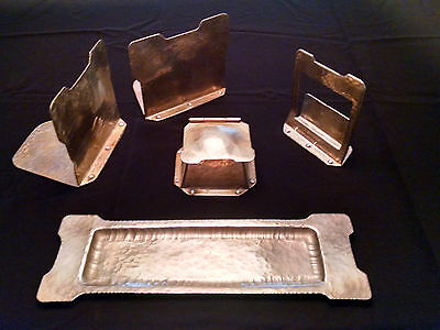 Antique Arts and Crafts Era Hand Wrought Pewter Desk Office Set Inkwell 5 Pcs