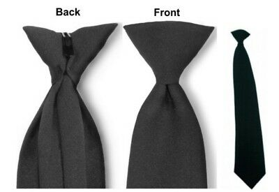 Brand New! Black Clip On 100% Polyester Tie.  {Made in USA}