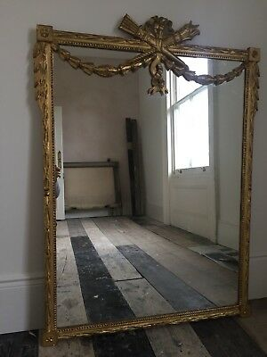 Antique French Gilt Louis XV Crested Mirror - Super Condition