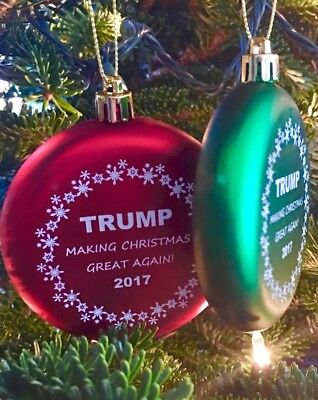 (2) Donald Trump Christmas Ornaments Make Christmas Great Again Usa Made Gift