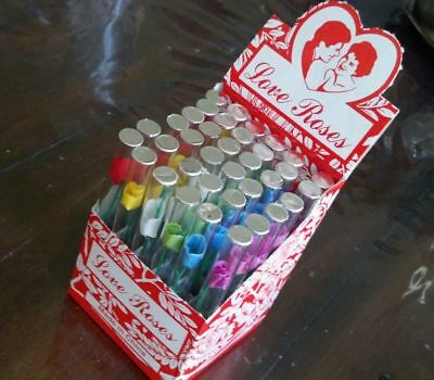"""36 Count of Tube Tiny Silk Love Roses in 4"""" Glass Tubes - Free Shipping"""