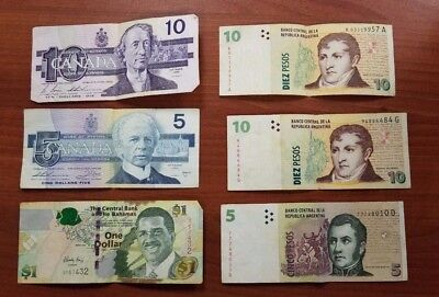 Foreign paper currency bills vintage lot $15 Canada, $1 Bahamas, $25 Argentina
