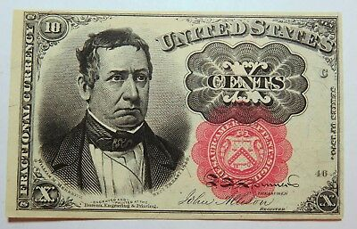 1874 10¢ Fractional Currency Us Au