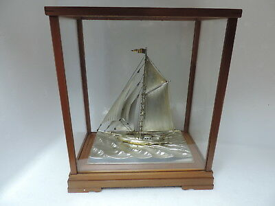 Vintage Antique Japanese H-Crafted Solid Sterling Silver Model Ship Yacht Japan