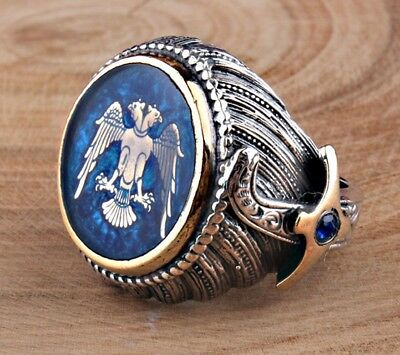 925 Sterling Silver Special  EAGLE blue sapphire Mens Ring Sz 10 us Free Resize