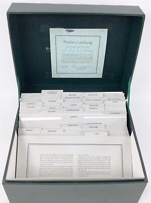 Franklin Mint Banknotes of all Nations Set of 38 Notes w/ Box & 1980 COA