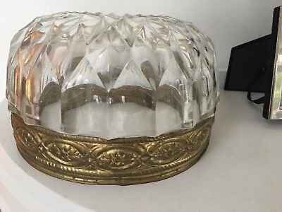 a vintage round cut glass with crystals shade for a lamp