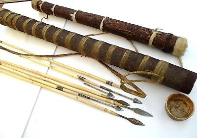 Vintage African San Tribe Bushman Wooden Arrows & Quivers With Leather Hide