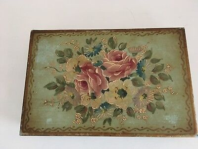 Hand Painted Vintage Tole Tin Box Shabby Roses
