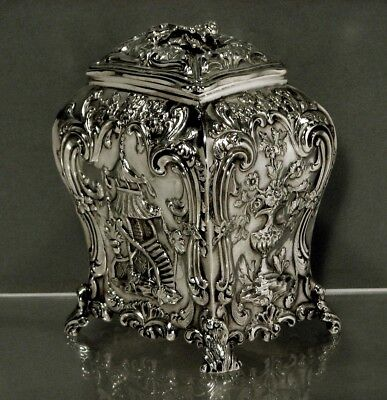 """English Sterling Tea Caddy          1833    """"CHINESE MANNER""""      17 OZ."""
