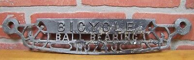 Old BICYCLE BALL BEARING No 740 Clothing Wringer Machine Plaque Sign w ANCHORS