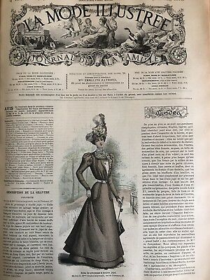 French MODE ILLUSTREE SEWING PATTERN March 20,1898  ROBE ORNEE DE BOUTONS