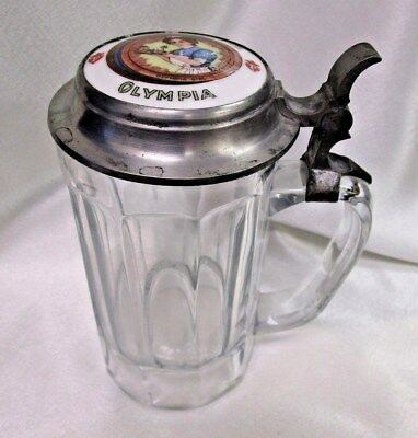 Vintage Glass Beer Stein with Olympia Porcelain & Pewter Lid