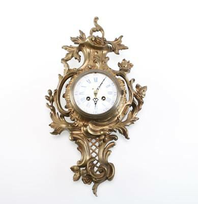 19th century Rococo Revival Cast Bronze Wall Clock, Possibly French