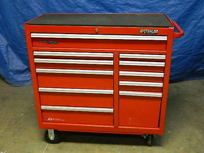 """Waterloo Tool Box Roller Cabinet 11-Drawer 42"""" x 41"""" x 18"""" Steel Red PCA-4111RD"""