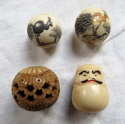 Four Assorted Hand Carved Face Peacock Geometric Ojime Beads Old Vtg Antique