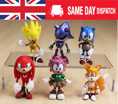 6PCs Sonic the Hedgehog Knuckles Amy Tail Metal Action Figures Toy Cake Topper