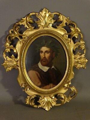 19thC Antique ITALIAN PHILOSOPHER Gentleman PORTRAIT PAINTING Wood CARVED FRAME