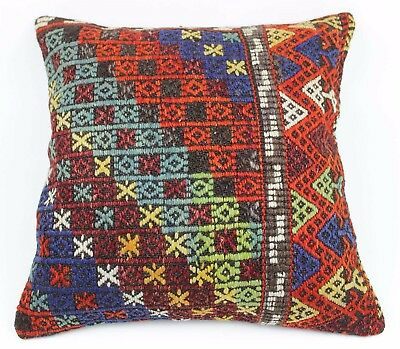 Vintage Kilim Rug Pillow Case, Handmade Unique Cushion Cover