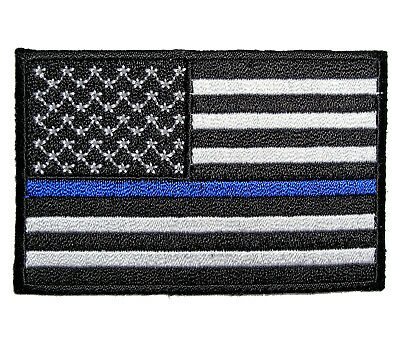 Patriotic American Flag Thin Blue Line Police Embroidered Patch FREE SHIP